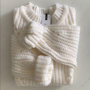 Dynamite Pointelle Mockneck Sweater